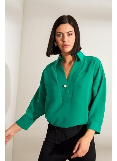 Setre Yeşil ınci Detaylı V Yaka Truvakar Kol Tunik Yeşil